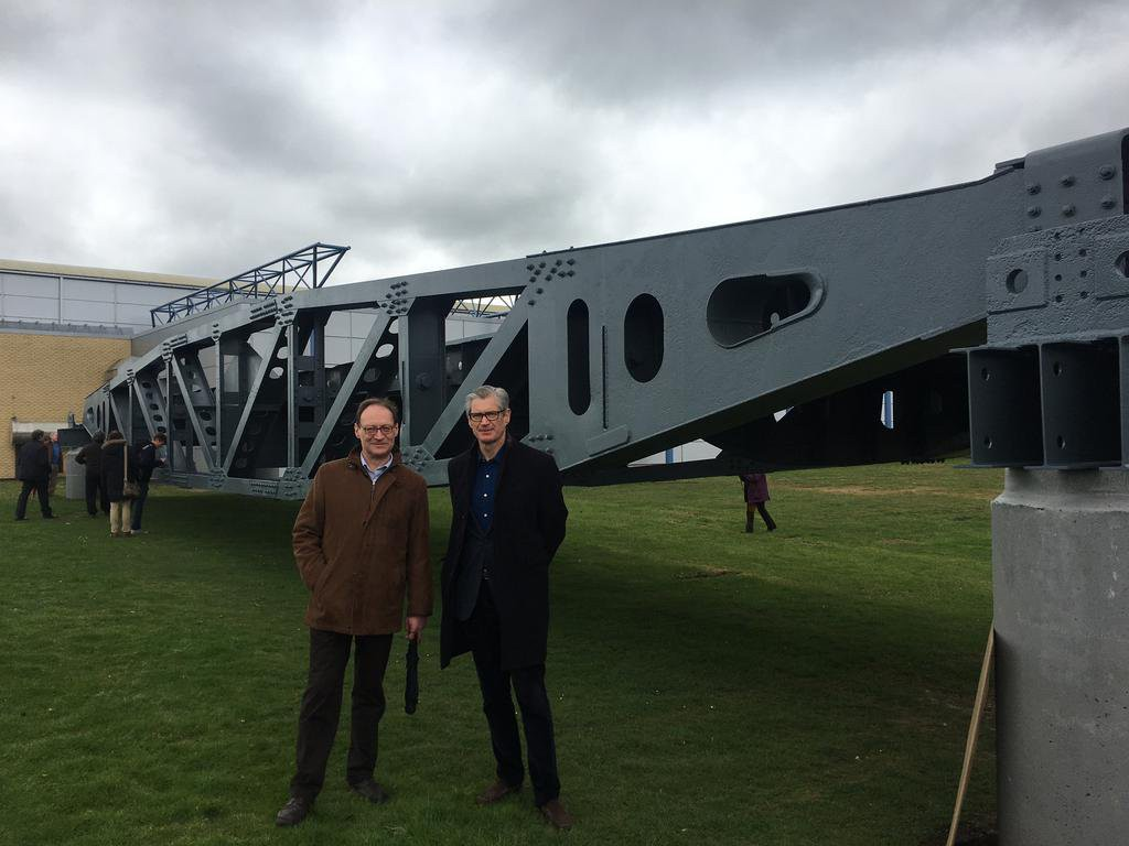 Tim beckett and Gordon Rankine at IWM Duxford for the handing over of the Mulberry harbour Whale bridge span.
